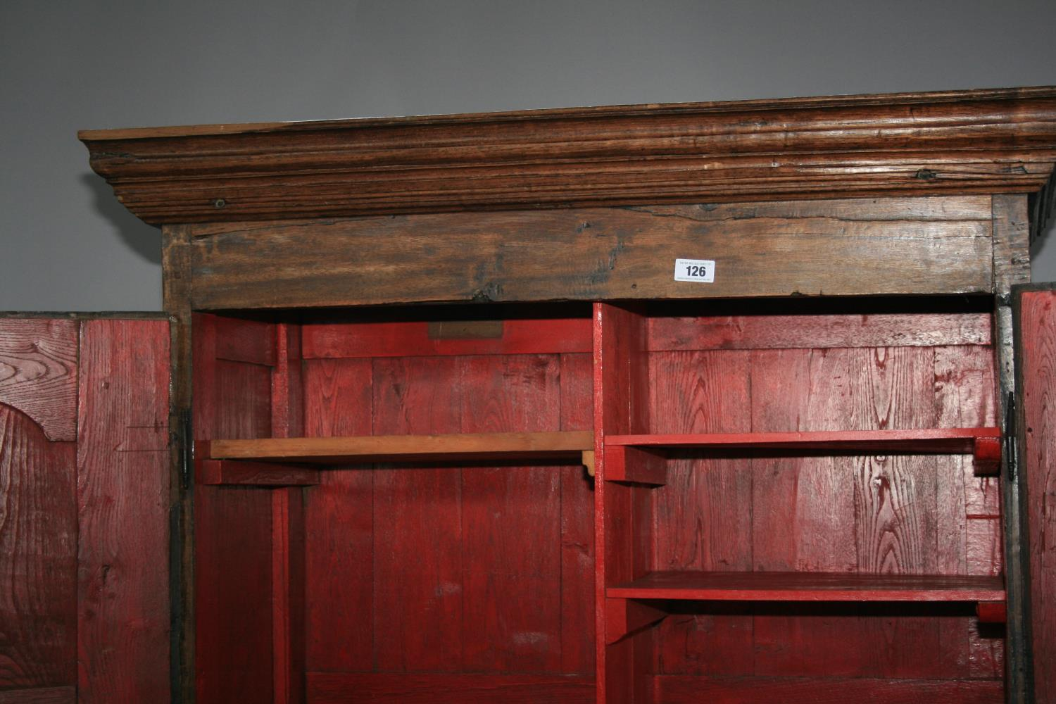 17th Century oak armoire with panel door and sides. 120W x 180H x 52D - Image 5 of 5