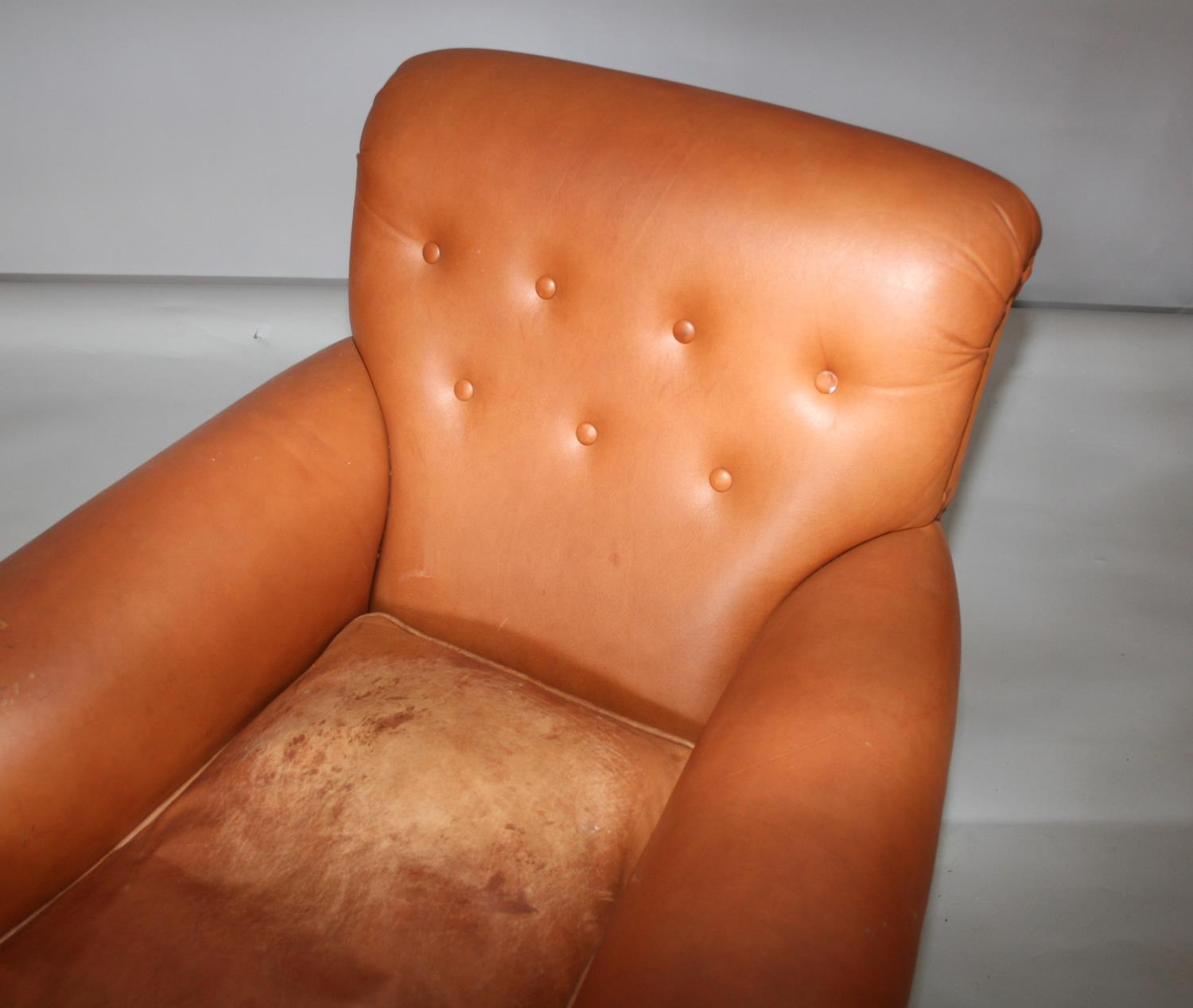 Pair of leather chairs in Victorian style . 85W x 80H x 95D - Image 2 of 3