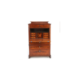 19th C. mahogany and rosewood Biedermeier secretaire chest