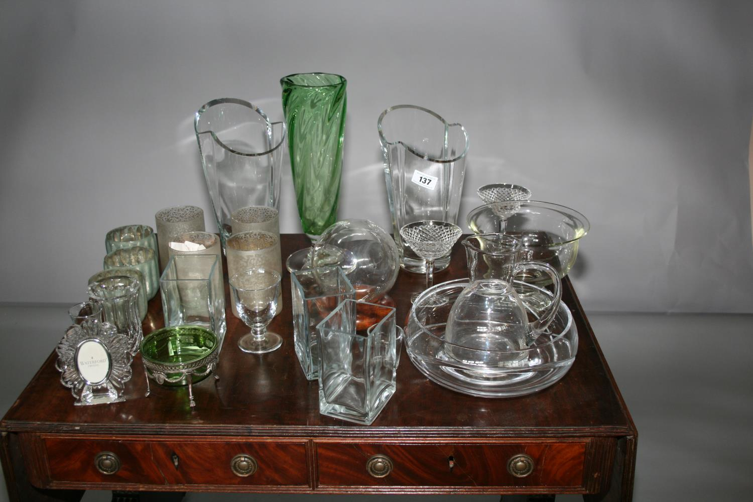 Collection of glass vases and glass wear.