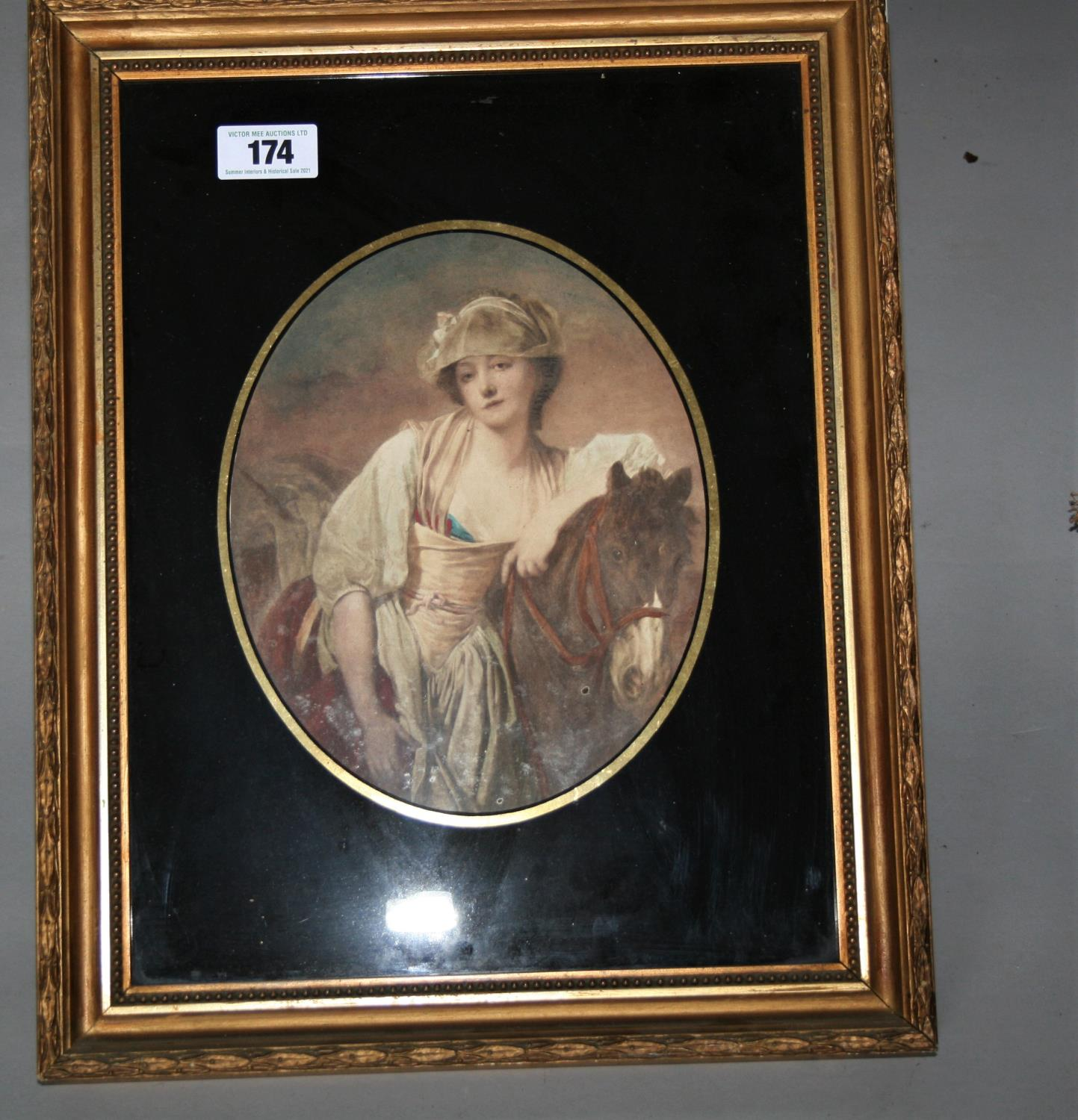 Pair of Edwardian gilt framed prints mounted in black glass. 40W x 50H - Image 2 of 3