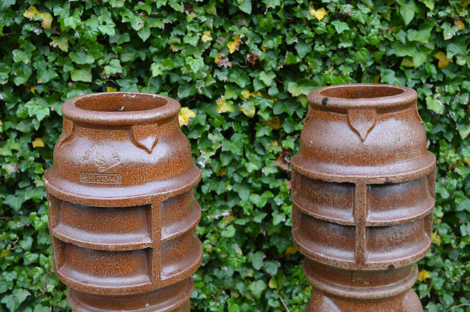 Pair terracotta chimney pots stamped Spiralvent. 36W 122H - Image 3 of 4