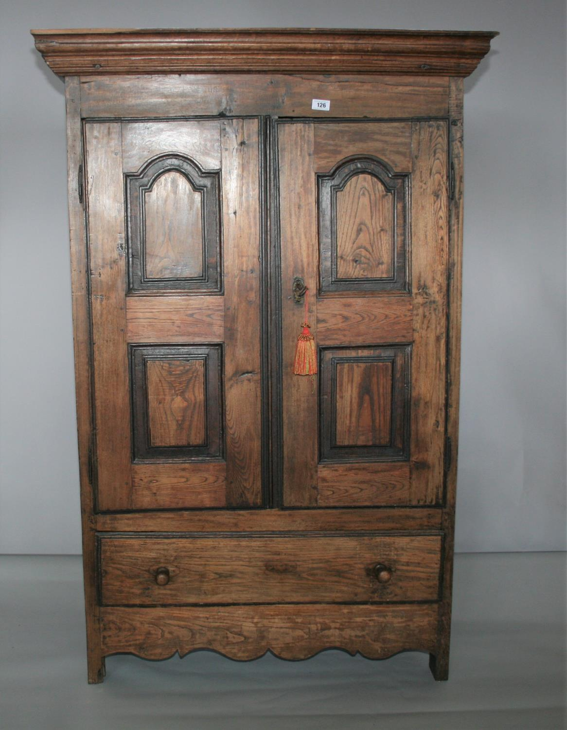 17th Century oak armoire with panel door and sides. 120W x 180H x 52D