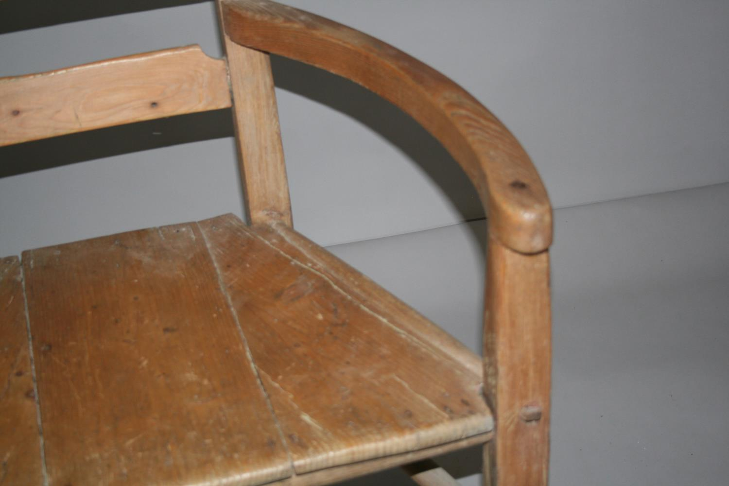 Quirky 19th Century pine wide arm chair. 56W x 90H x 55D - Image 3 of 3