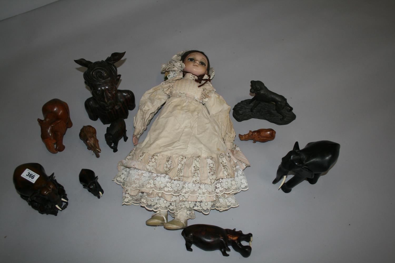 Vintage Doll and selection of hardwood elephants etc. - Image 2 of 4