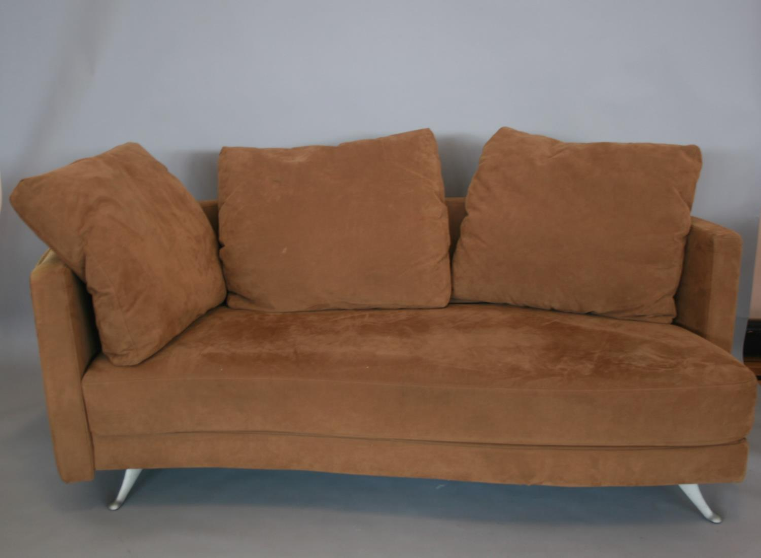 Rolf Benz suede covered sofa with some fading 190 W x 70 H x 80 D