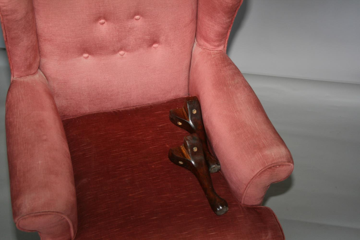 Queen Ann style wing back chair (as found) 75W x 120H x 75D - Image 2 of 3