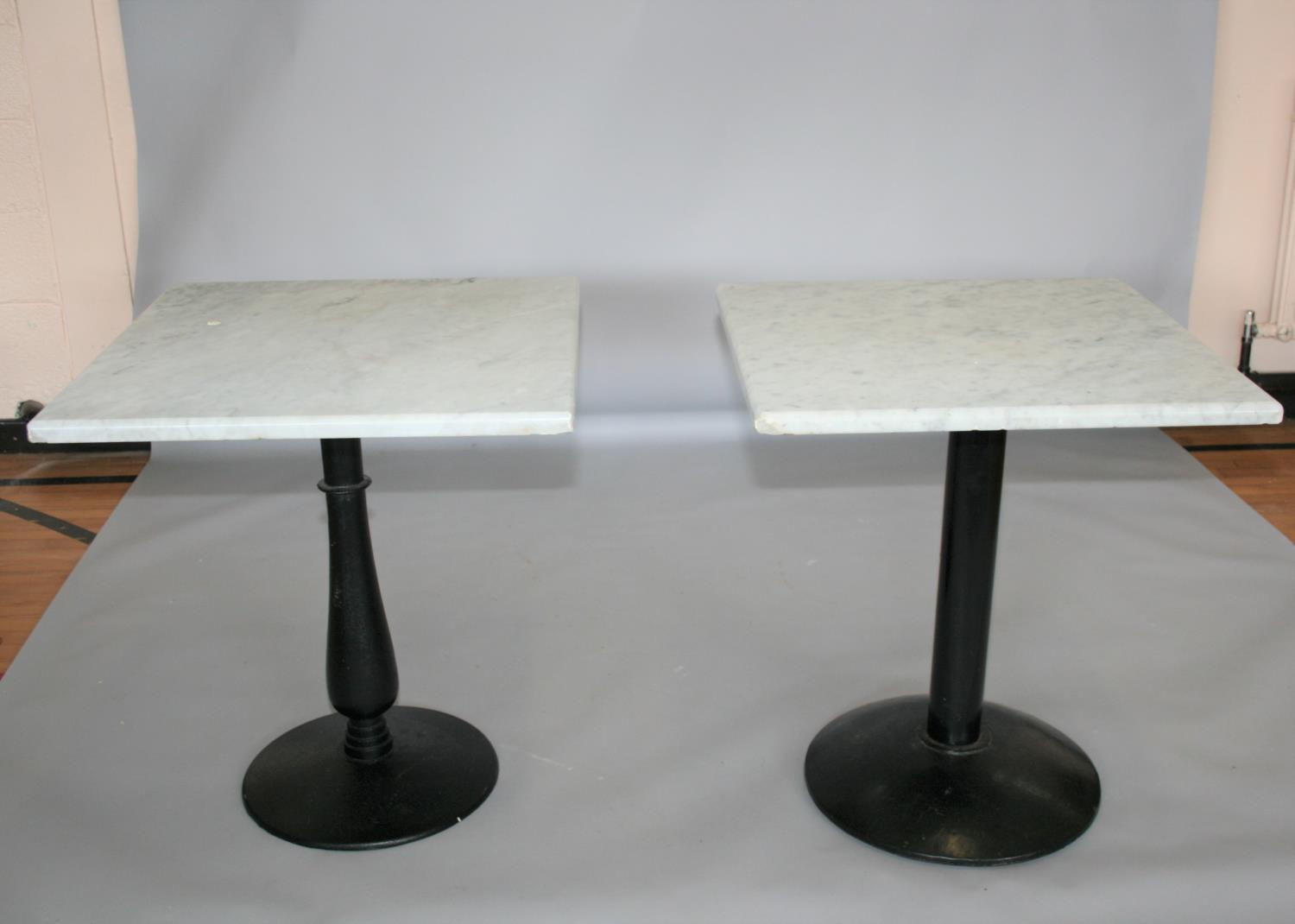 Two quality marble top bar tables (slight damage to marble and slight variation in size) 70 W x 70 H