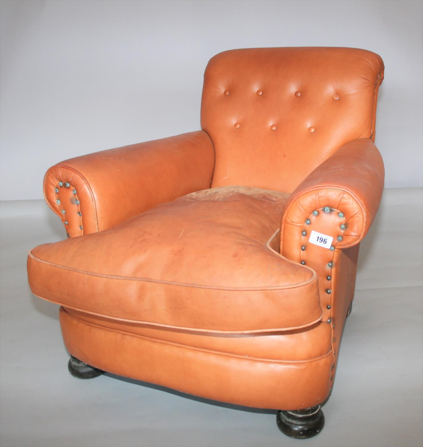 Pair of leather chairs in Victorian style . 85W x 80H x 95D