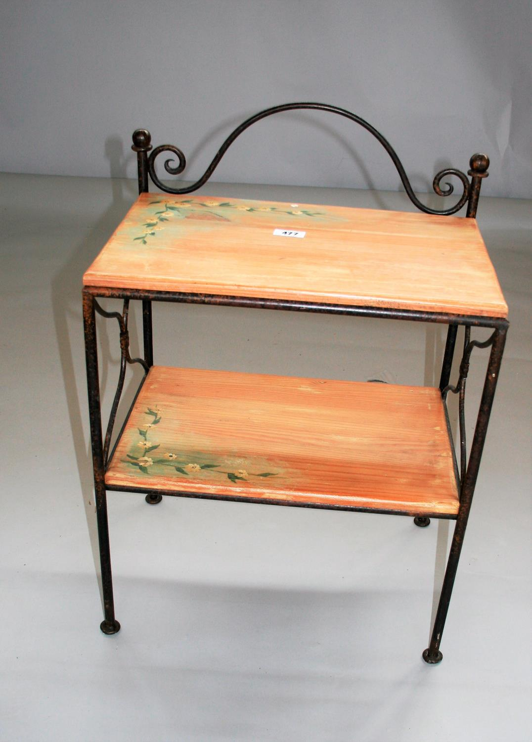 Wrought iron and painted wood two tier shelf and two pairs of bed side lockers 54W x 41H x 38D - Image 5 of 6