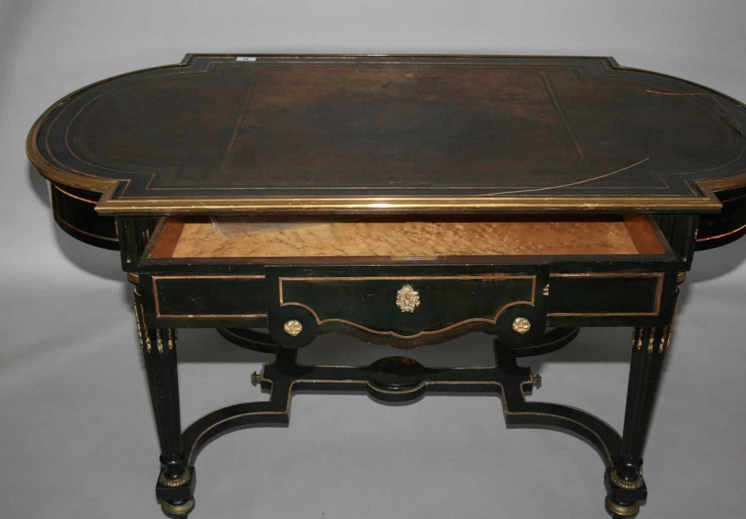 19th Century ebonised and brass mounted centre table with frieze drawer as found 152 W x 76 H x 90 - Image 3 of 3