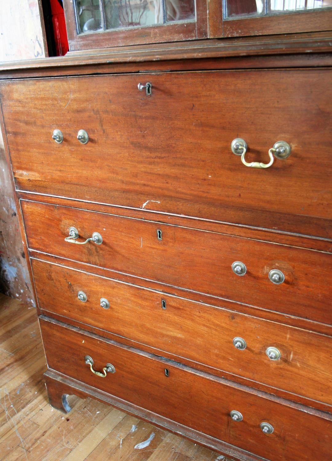 Georgian mahogany secretaire book case the astragal above secretaire and 3 long graduated drawers. - Image 3 of 3