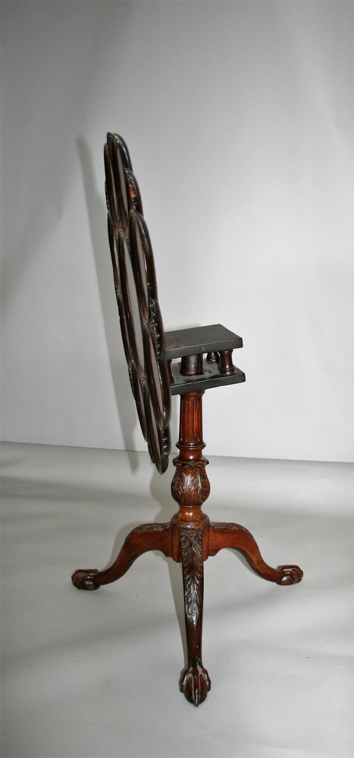 Fine 19th Century tip-up table with scallop edge, bird cage action on tripod base (peg missing). 75W - Image 3 of 4