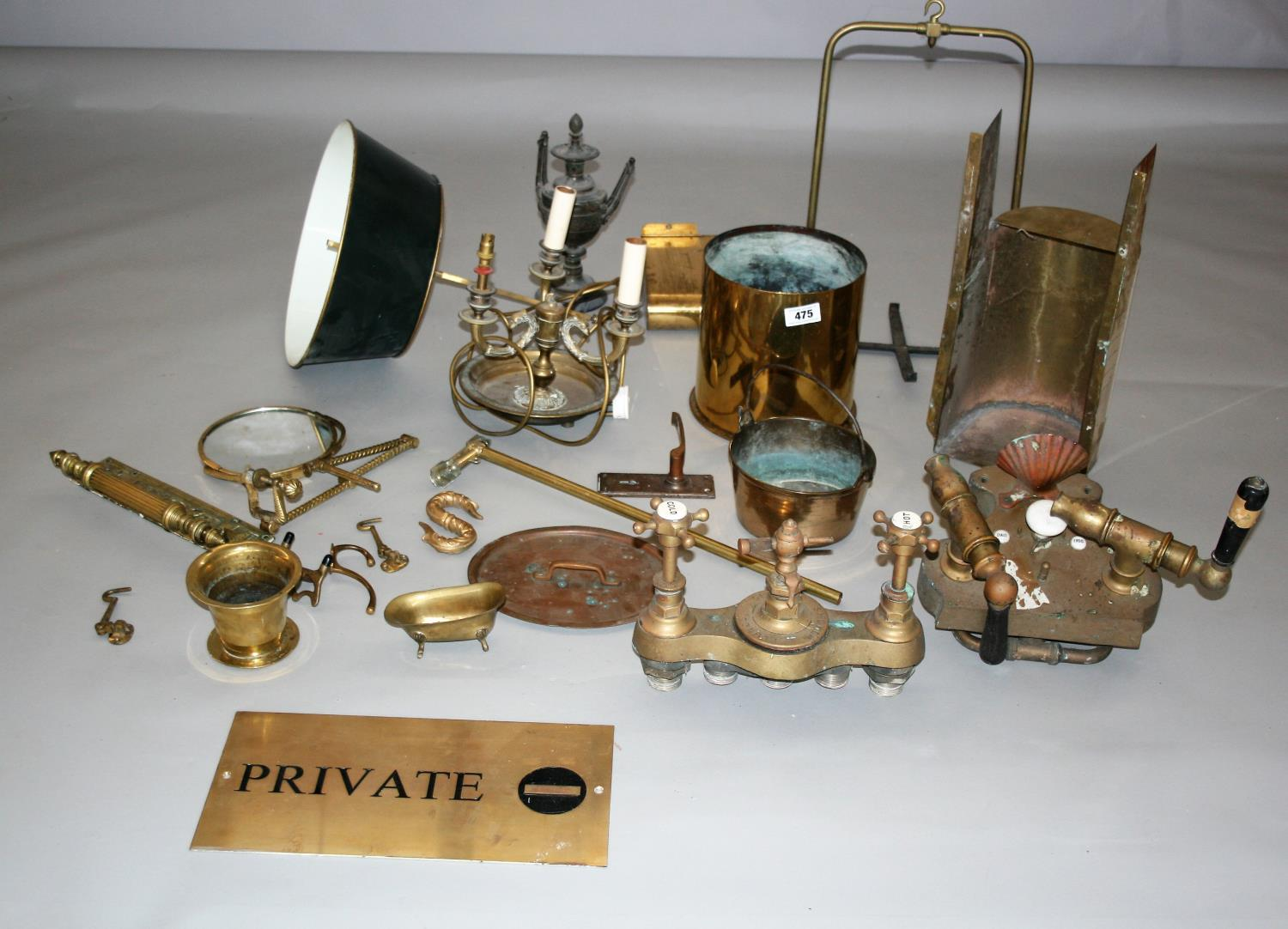 Collection of quality antique brass items, lamp, private sign etc