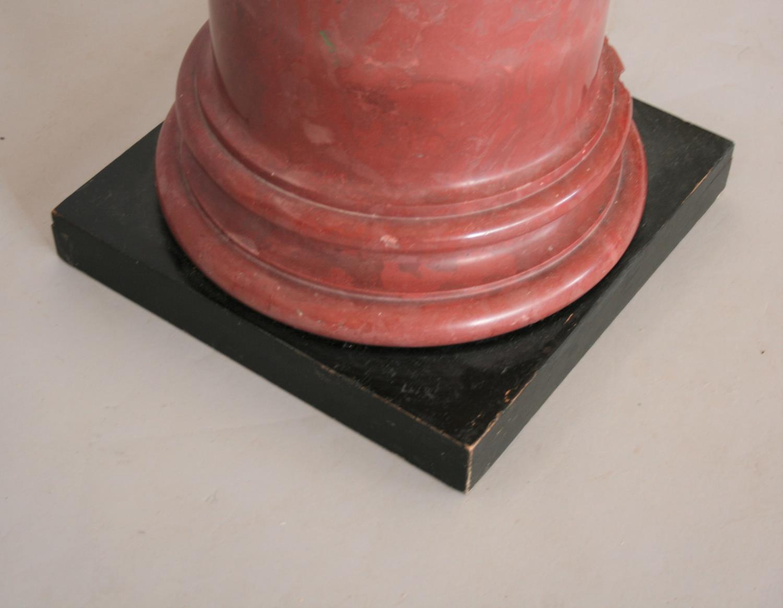 Superb rouge marble column on ebonised plinth. 42W x 120H - Image 3 of 3