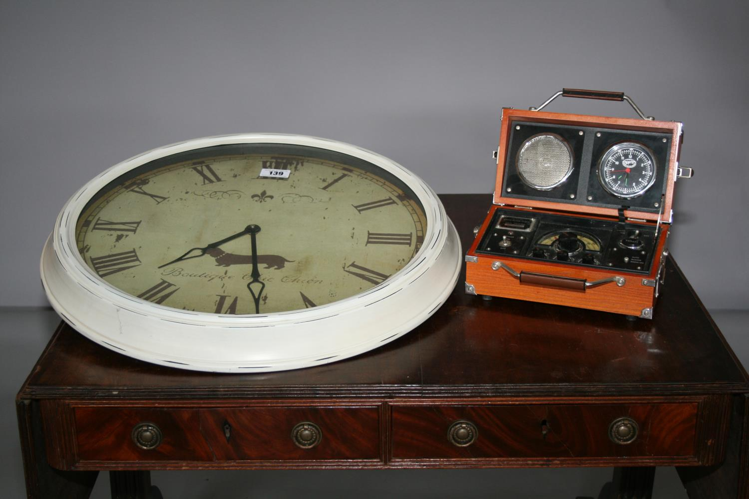 French vintage style wall clock (63W) and vintage design radio alarm clock (26W x 20H x 14D)