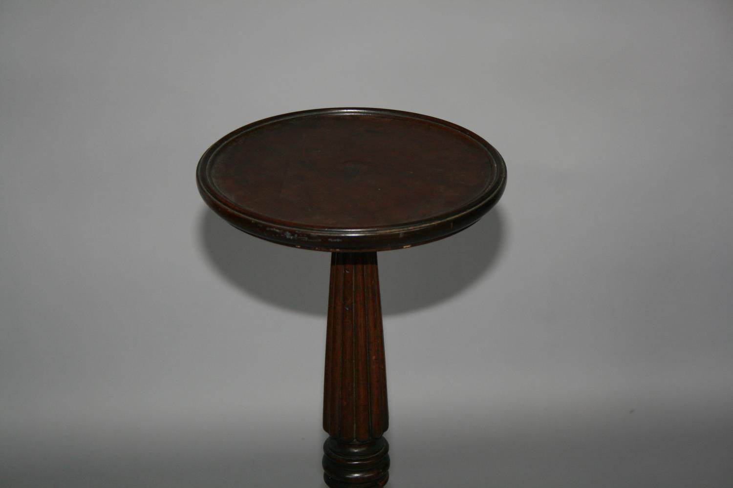 19th Century mahogany torchiere with circular top on tapering support 40 W x 84 H - Image 3 of 3