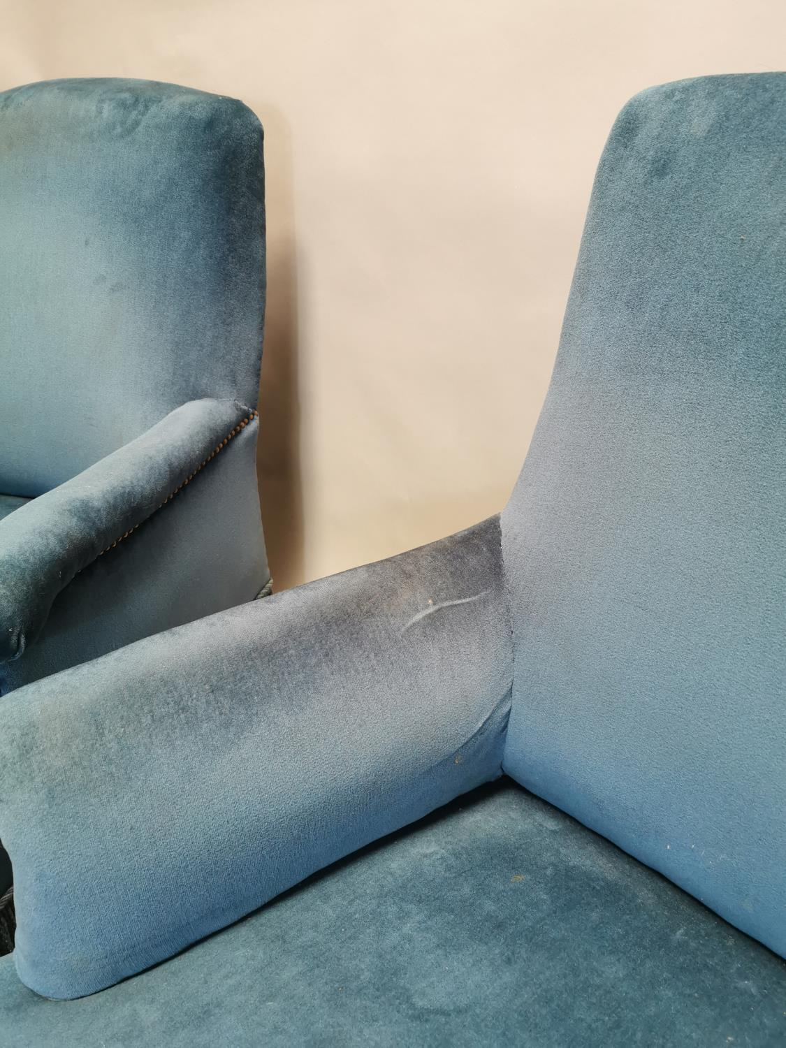 Pair of 19th C. mahogany arm chairs upholstered in blue crush velvet 94 cm H x 80 cm W x 80 cm D - Image 3 of 3