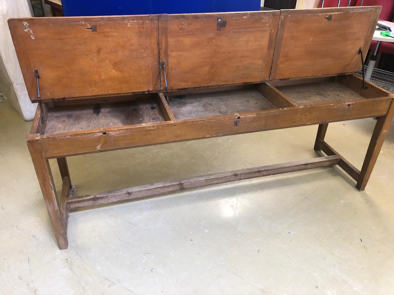 Fine Vintage lift top double desk 214W 60 H 80 D - Image 2 of 4