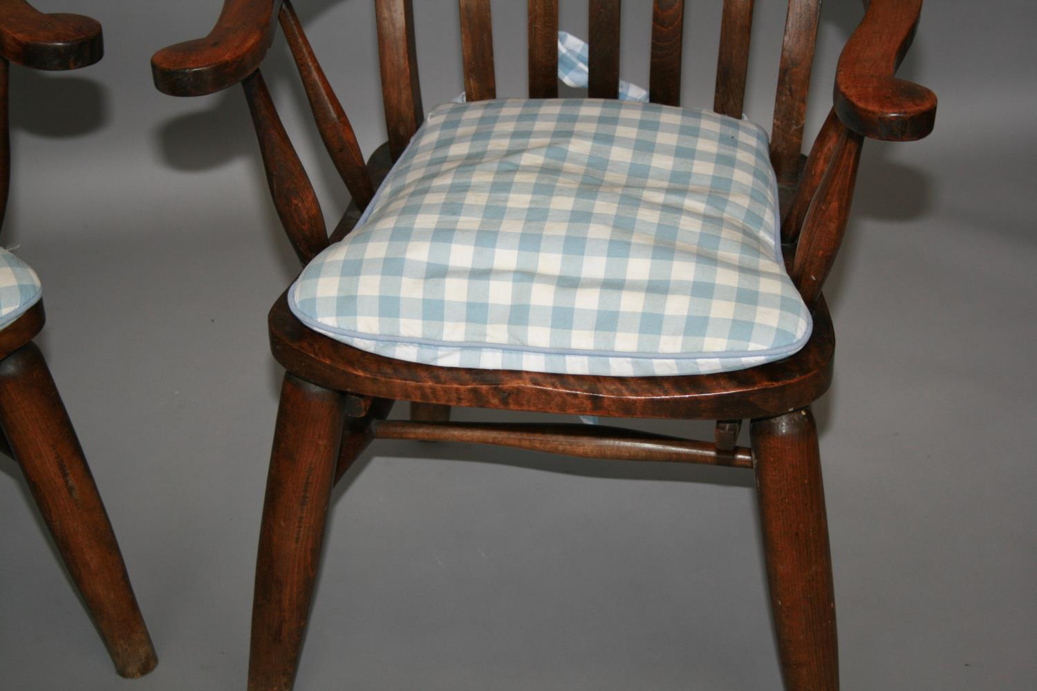 Pair of high back fork design kitchen chairs 65 W x 115 H x 60 D - Image 2 of 4