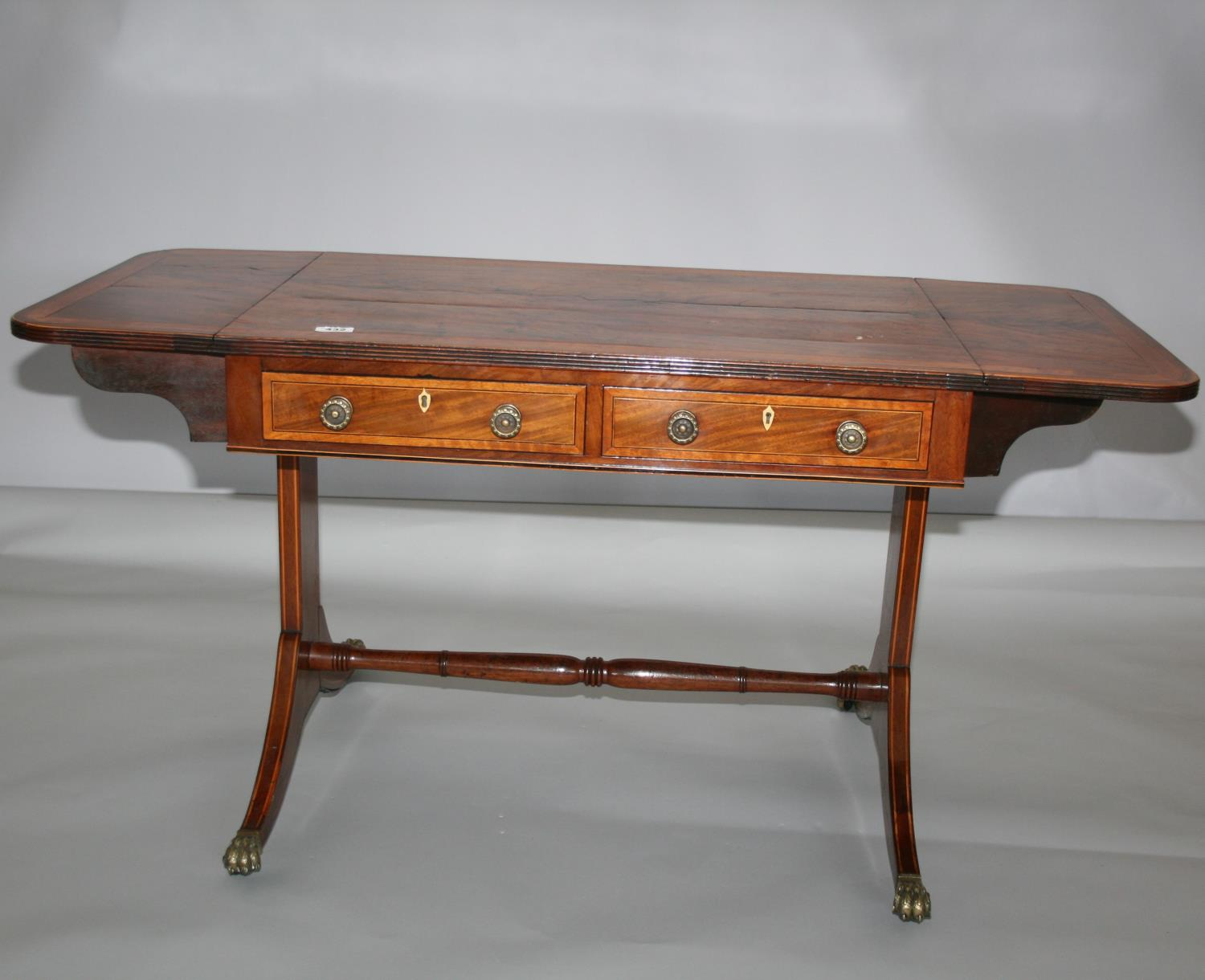 Very fine original Georgian sofa table mainly in mahogany with satin wood cross banding - Image 2 of 5
