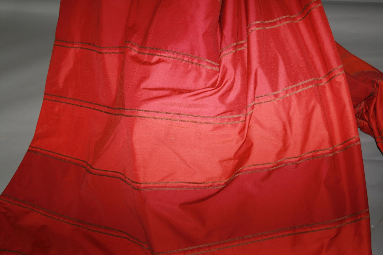 Two pairs of red curtain, striped pattern 110W x 210H approx. each. - Image 2 of 2
