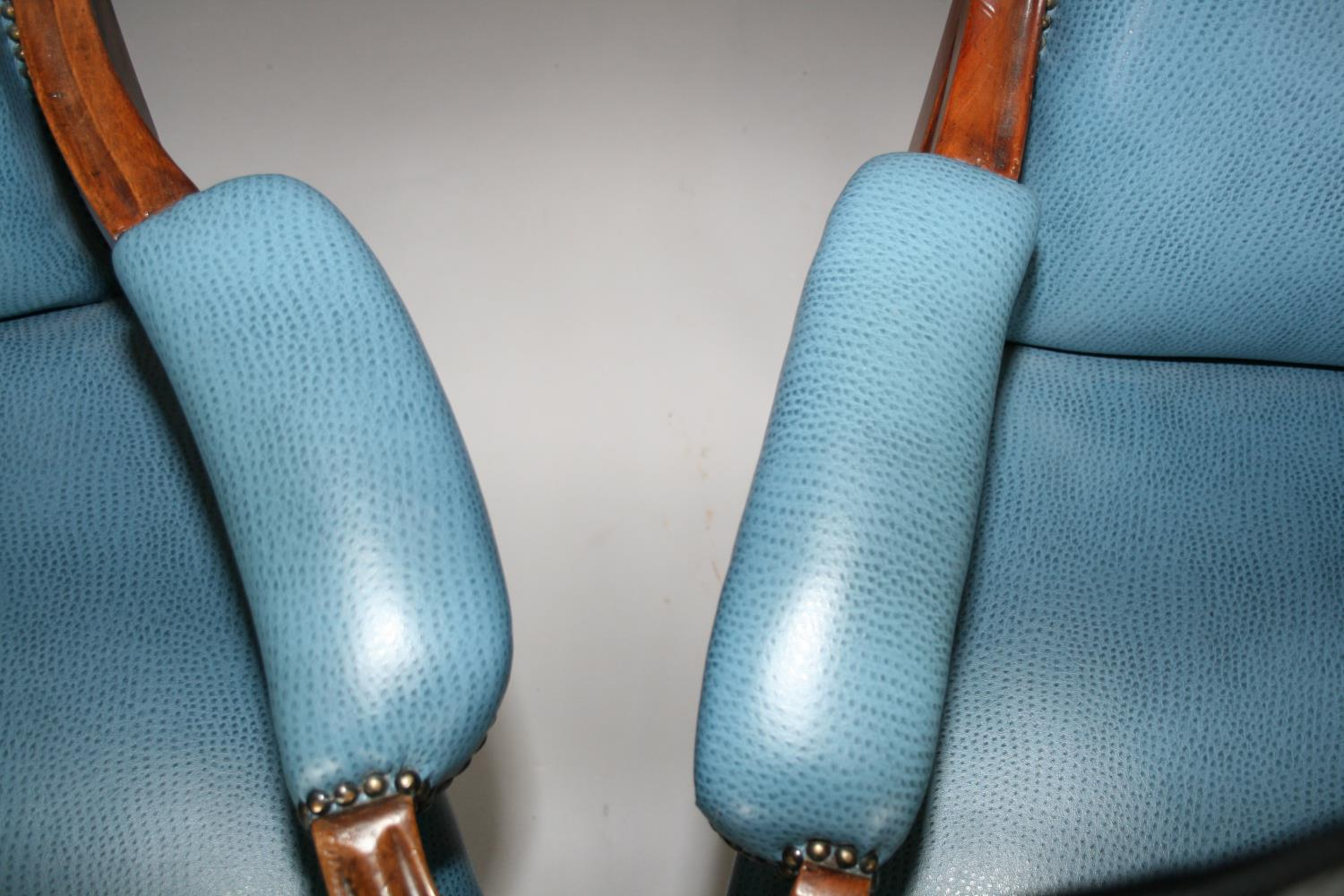 Near pair of Edwardian mahogany armchairs, with speckled hide upholstery. - Image 2 of 3