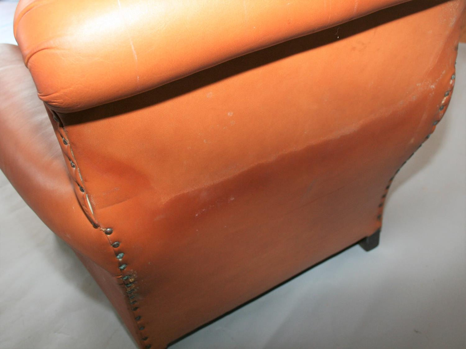 Pair of leather chairs in Victorian style . 85W x 80H x 95D - Image 3 of 3