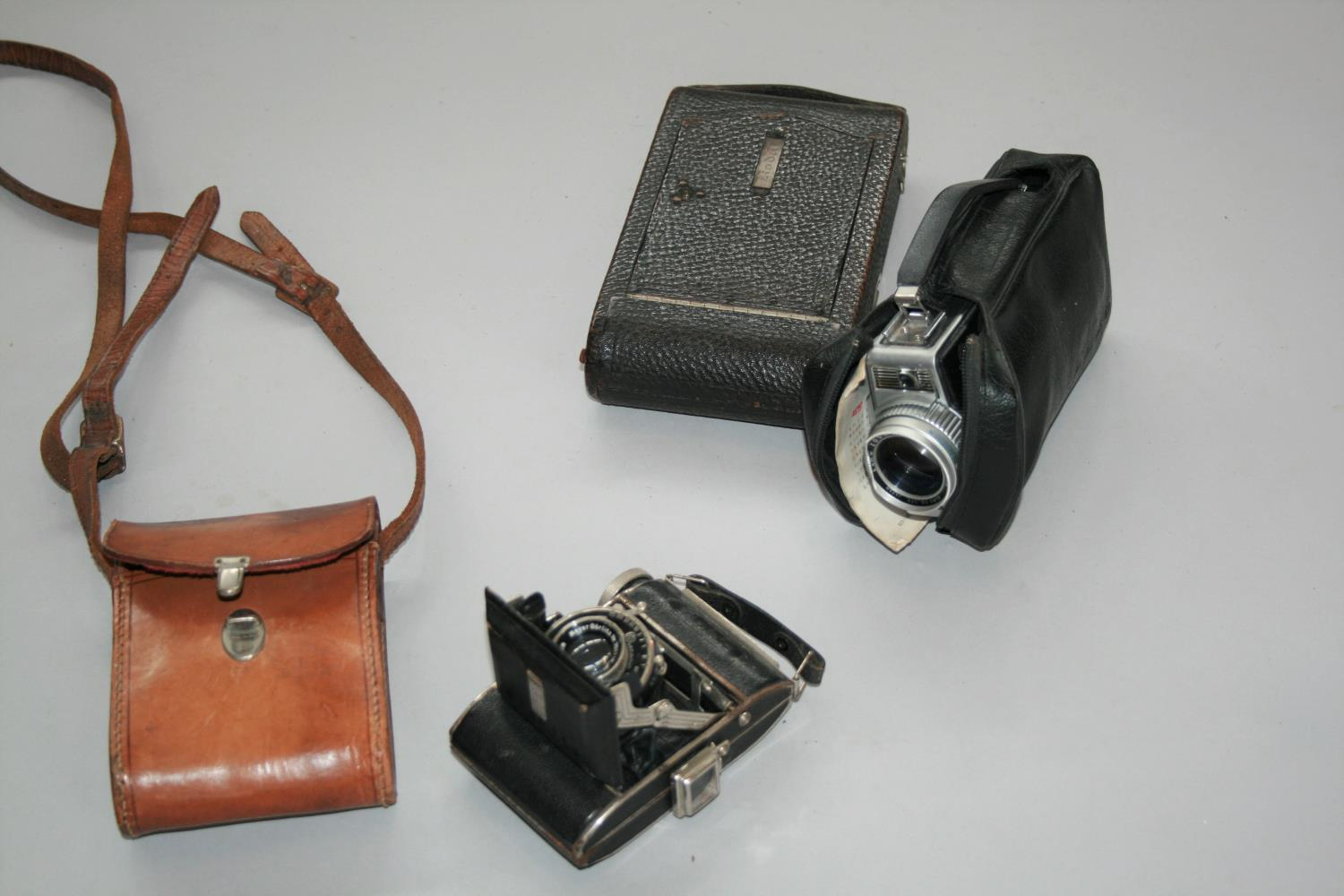 Antique walnut and brass stationary holder, vintage cameras, weighing scales and weights. - Image 2 of 3
