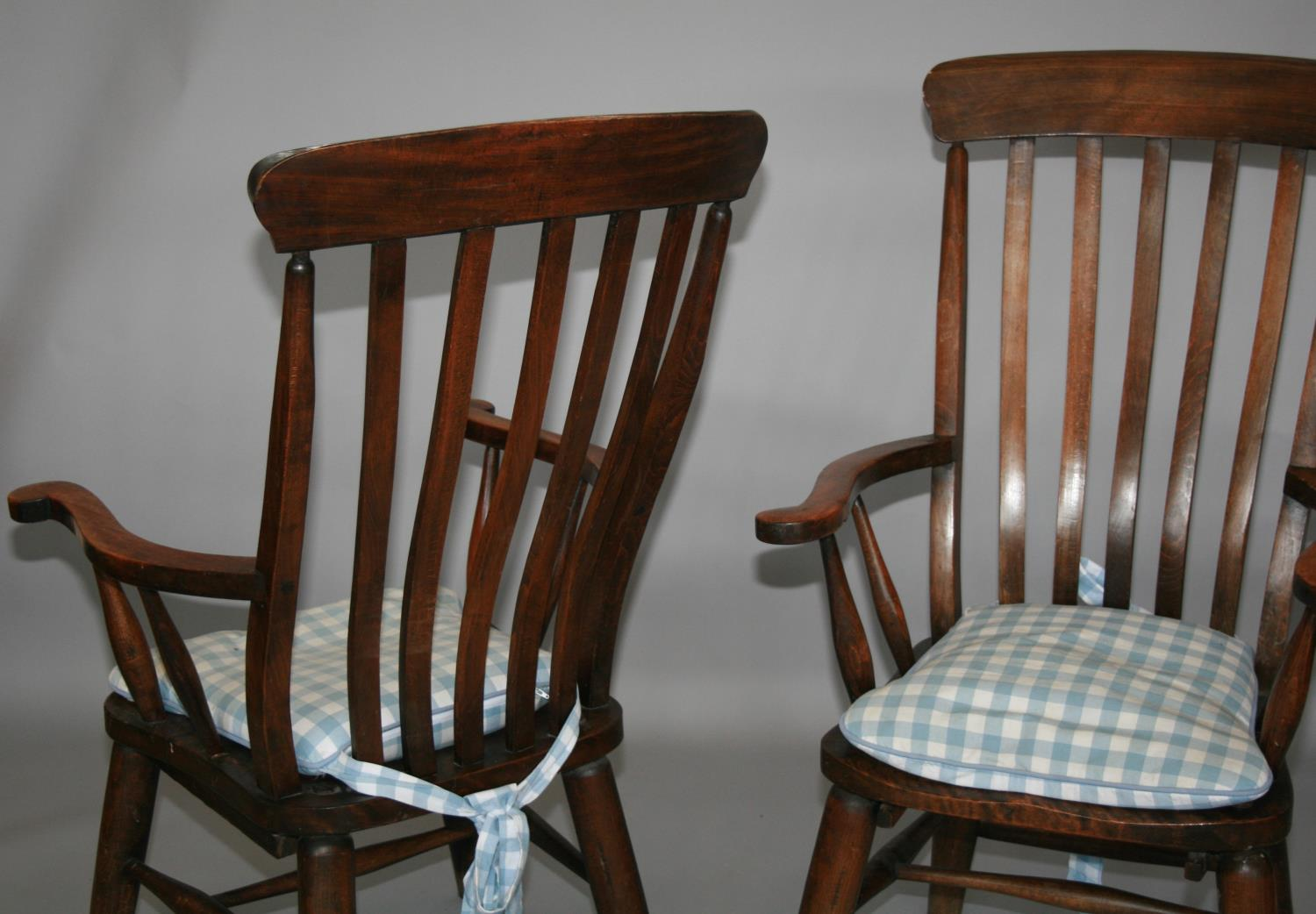 Pair of high back fork design kitchen chairs 65 W x 115 H x 60 D - Image 4 of 4