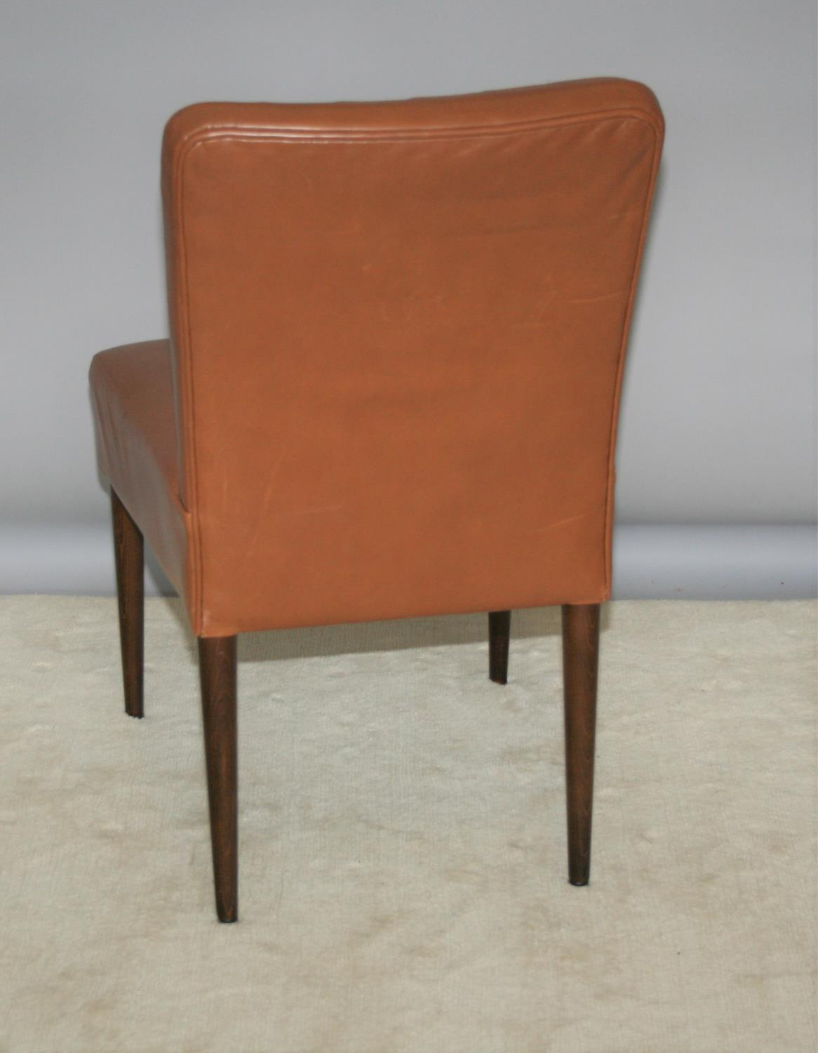 Set of three stylish brown leather ribbed back chairs 18 W x 34 H x 18 D - Image 2 of 2
