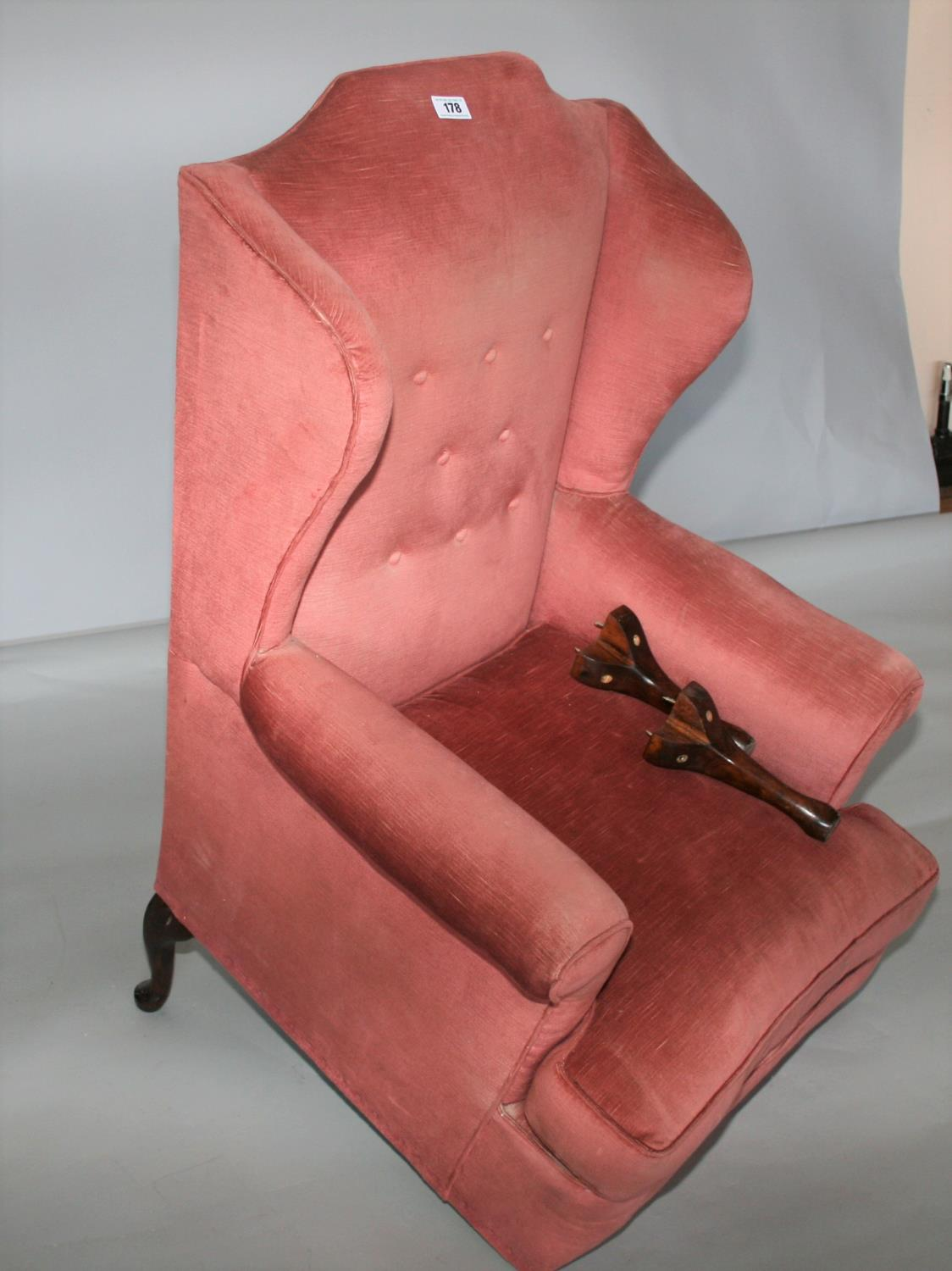 Queen Ann style wing back chair (as found) 75W x 120H x 75D - Image 3 of 3