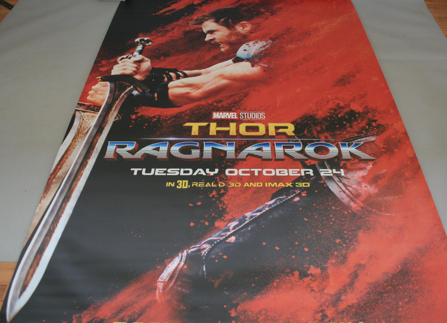 Three large Marvel movies posters (153W x 240H) and selection of small cinema posters