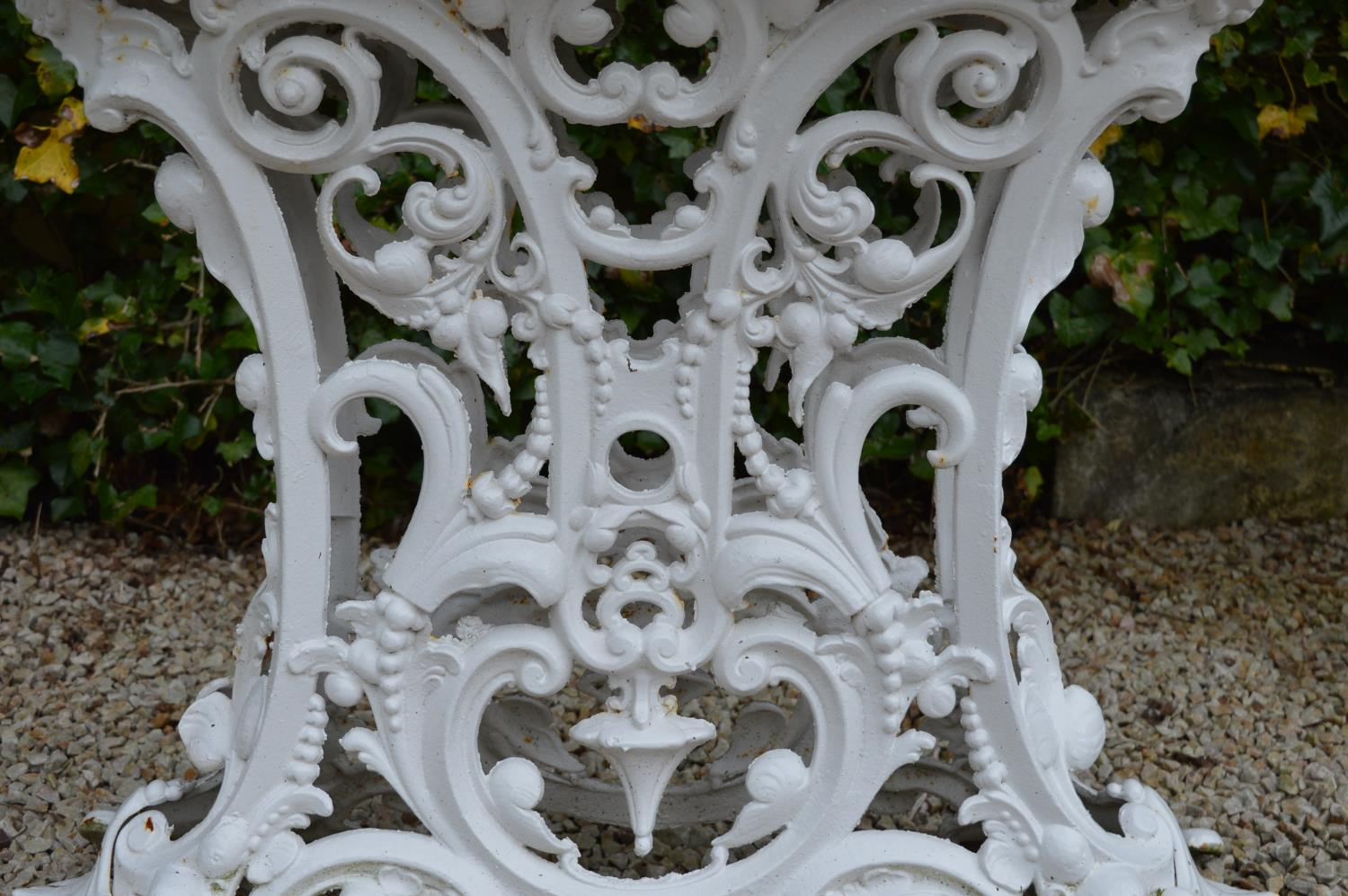Cast iron garden table marble top in the Coalbrookdale style. 90W 75H 36D - Image 2 of 3