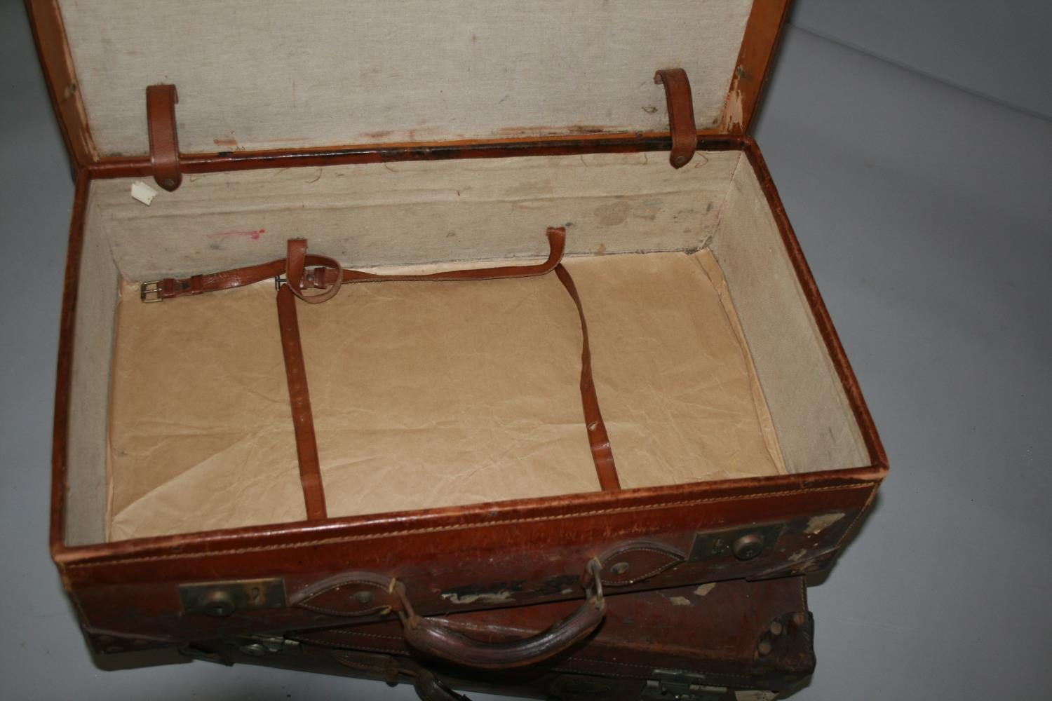 Four vintage leather suitcases, with compass, blade sharpener and wood plain. - Image 5 of 7