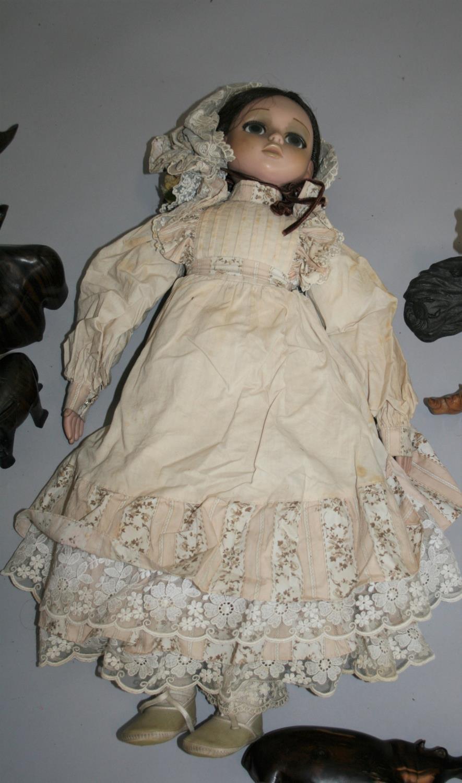 Vintage Doll and selection of hardwood elephants etc. - Image 4 of 4