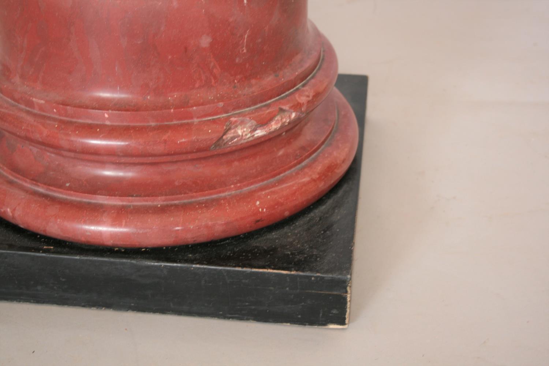 Superb rouge marble column on ebonised plinth. 42W x 120H - Image 2 of 3