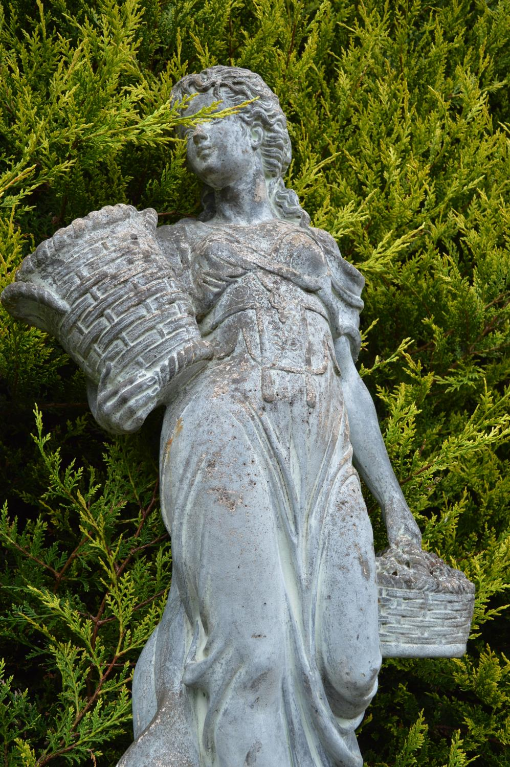 Stone life-size figure of a young girl with a basket of flowers 40W 140H - Image 3 of 3