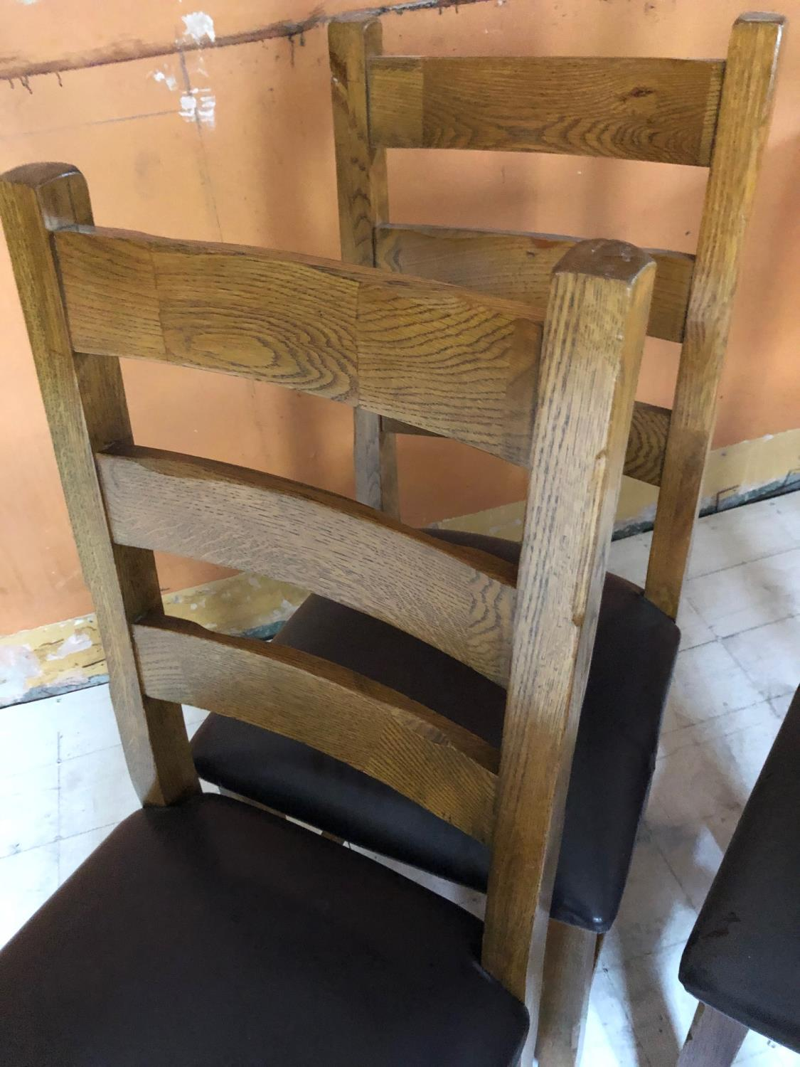Set of four ladderback restaurant chairs 47W 108H - Image 3 of 4