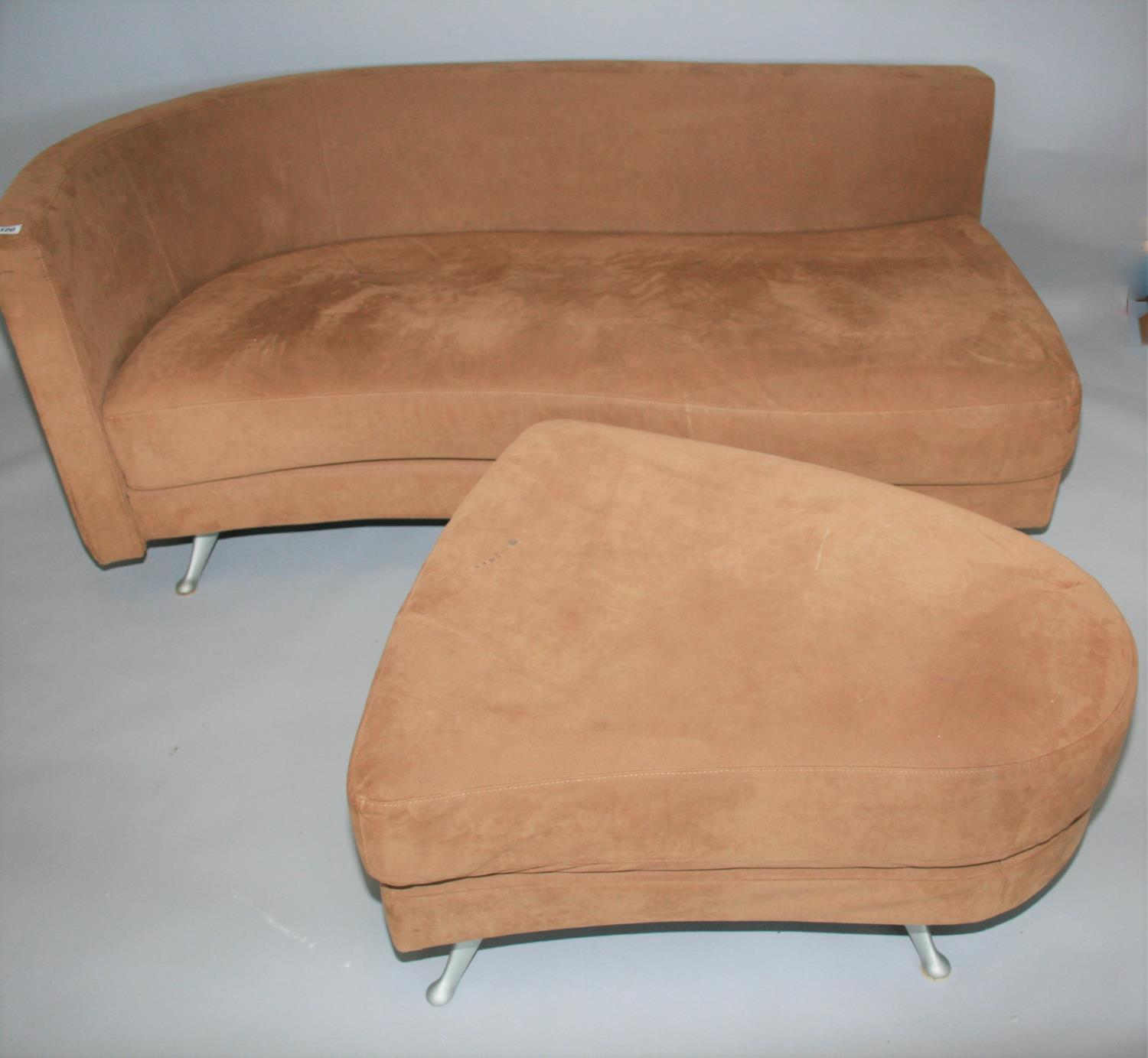 Rolf Benz suede covered sofa and matching foot stool 180 W x 70 H x 85 D