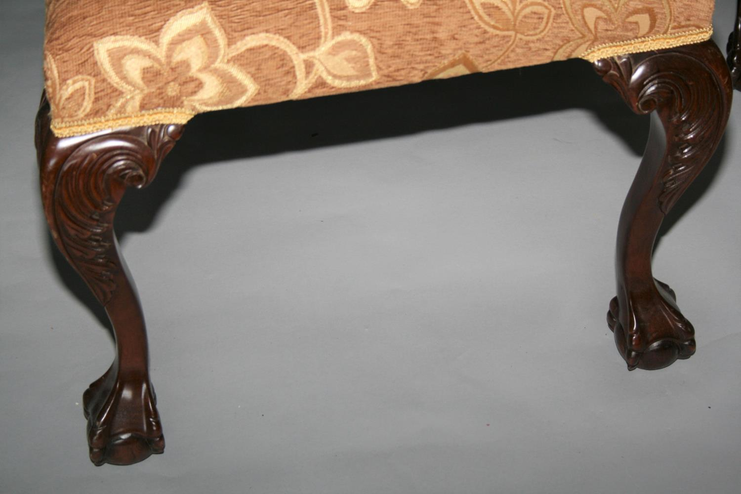 Set of eight Chippendale style dining chairs with floral gold upholstery. 59W x 103H - Image 3 of 3