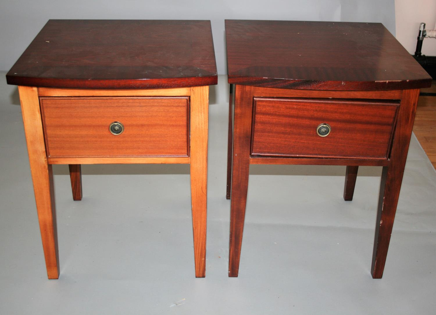 Wrought iron and painted wood two tier shelf and two pairs of bed side lockers 54W x 41H x 38D - Image 2 of 6