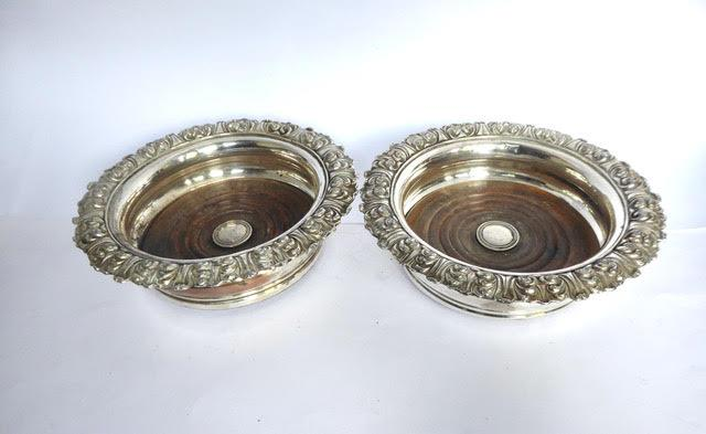 Pair of antique Sheffield plated coasters.