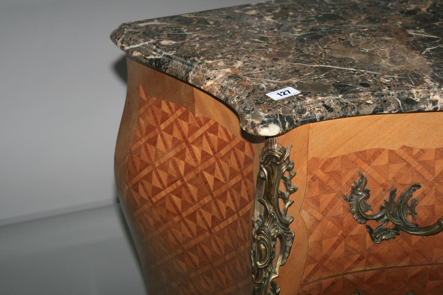 Fine quality antique serpentine commode with marble top above kingwood marquetry base with brass - Image 3 of 3