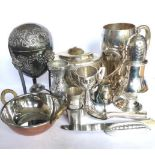 Miscellaneous lot – Two silver plated mugs, sugar caster, milk jug, bowl, vase, embossed eggery,