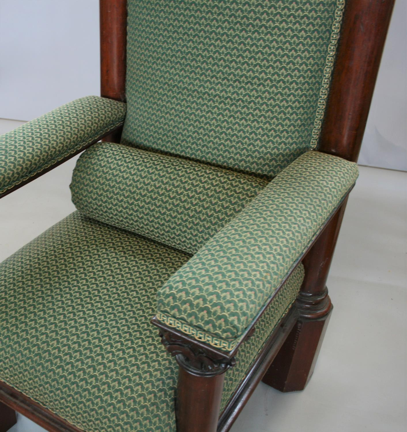 Exceptionally rare mahogany Irish throne chair, stamped Strahan of Dublin. 90W x 230H x 78D - Image 3 of 4