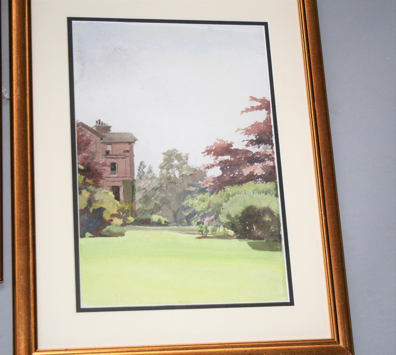 """Jose Irwin two gold framed watercolours - """"A village school & church"""" 53W x 43H and """"Mount Irwin"""" - Image 2 of 3"""