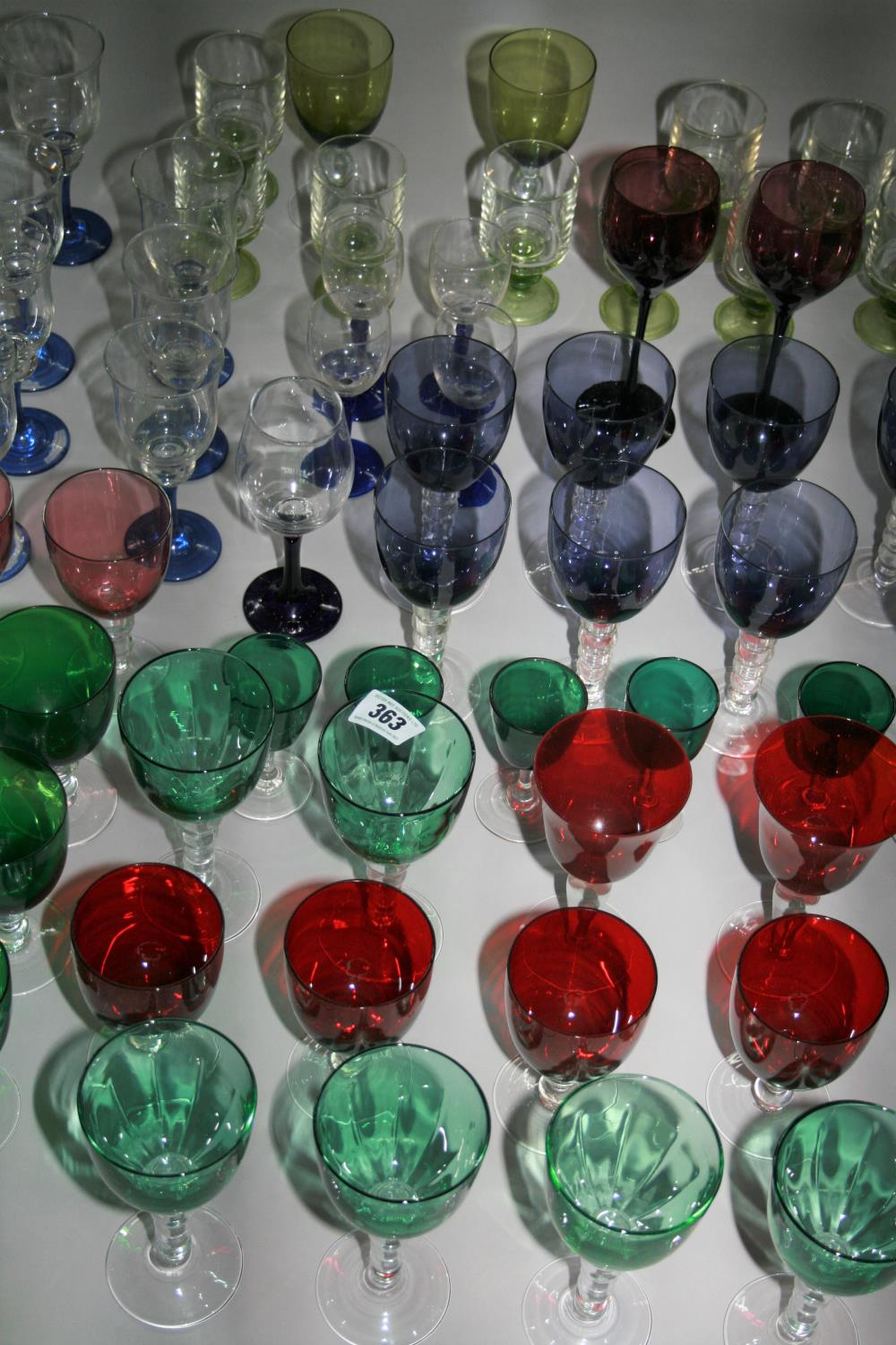 Very fine selection of coloured wine glasses. - Image 2 of 2
