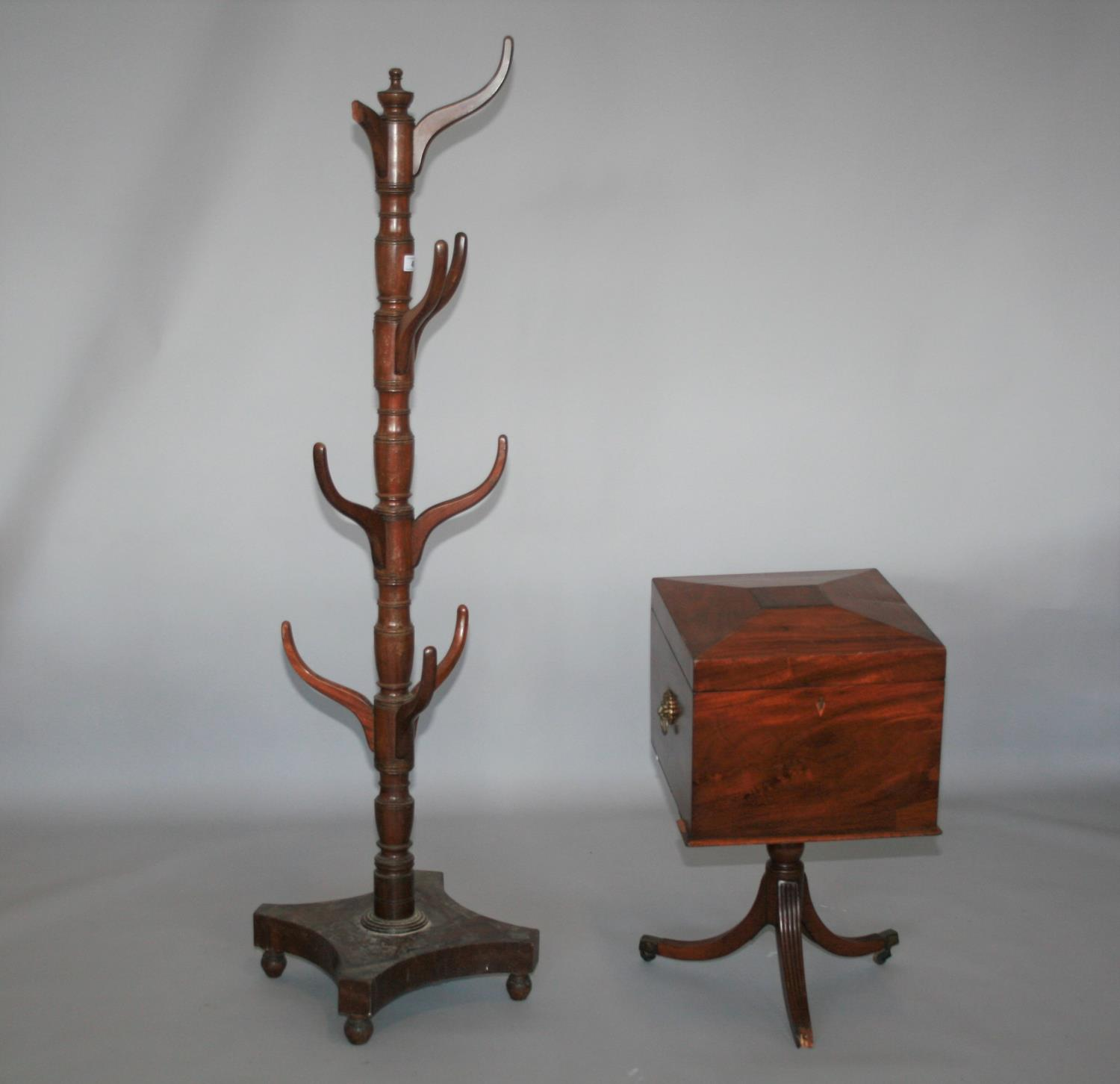 Regency mahogany hat and coat stand (40W x 165H) and regency mahogany wine cooler, as found.
