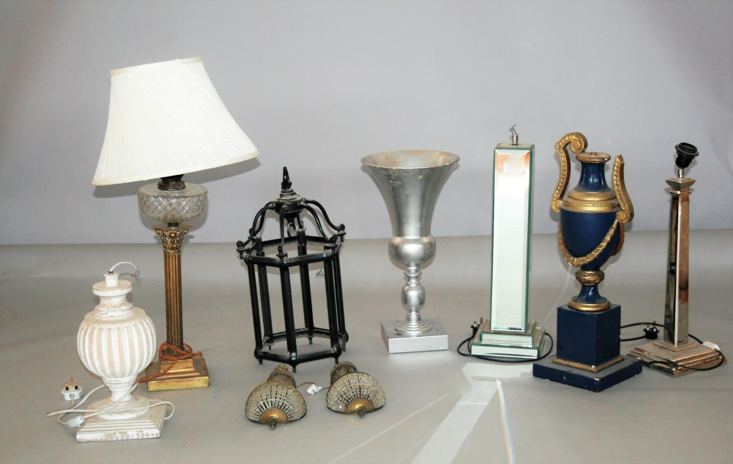 Misc. collection of antique lamps etc.